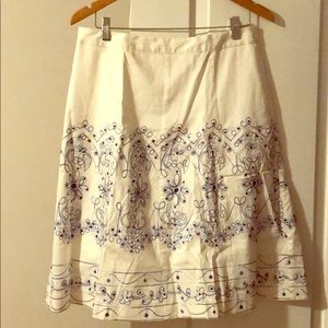 Dresses & Skirts - White and blue A line skirt